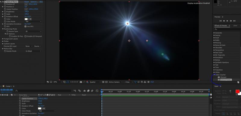 After Effects  After effects lens efekti video copilot optical flares